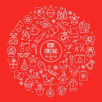 Contexte de célébration des icônes de contour de noël et du nouvel an disposées en cercle