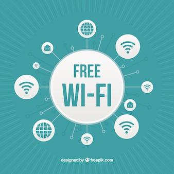 Contexte avec cercles de wifi gratuit