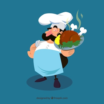 Contexte de chef avec délicieux poulet