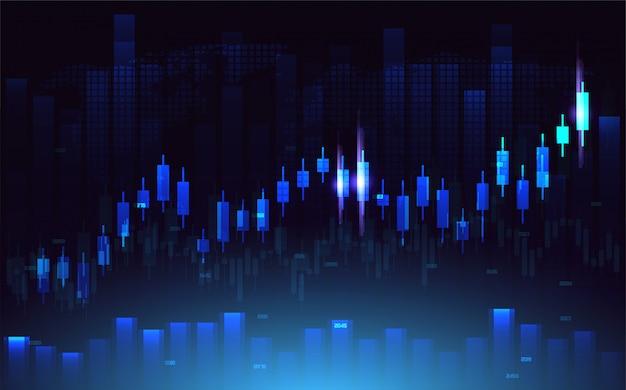 Contexte commercial avec des illustrations de graphique à barres sur un fond bleu foncé.