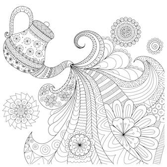 Contexte avec la conception du pot de thé