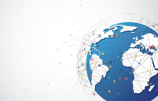 Contexte de connexion au réseau mondial. composition du point et de la ligne de la carte du monde