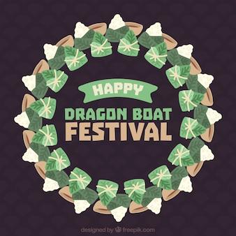 Contexte de la couronne avec le repas traditionnel du festival de bateau de dragon