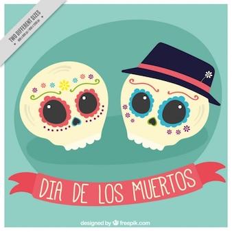 Contexte de crânes couples mexicains