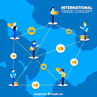 Contexte de commerce international avec carte