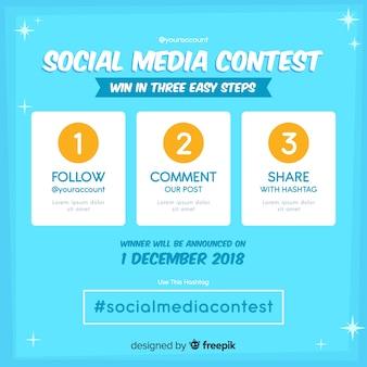Contexte de concours de médias sociaux avec des étapes