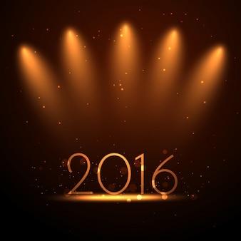 Contexte de l'année 2016 avec des lumières d'or