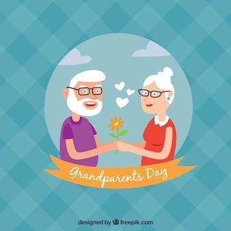 Contexte de deux grands-parents amoureux