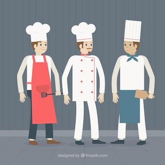 Contexte avec différents cuisiniers
