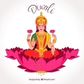 Contexte de diwali avec une déesse à la main