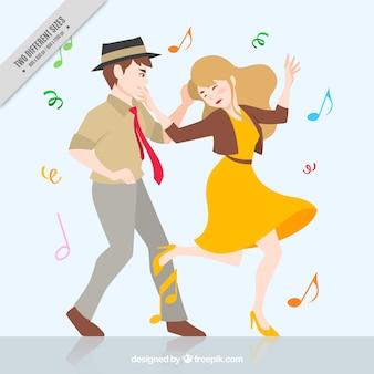 Contexte de drôle couple qui danse
