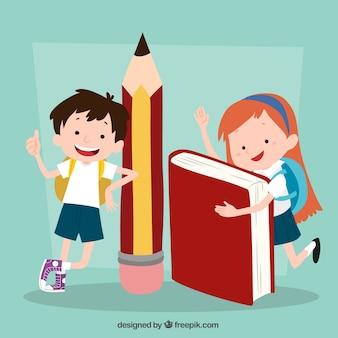 Contexte drôle des enfants avec fournitures scolaires