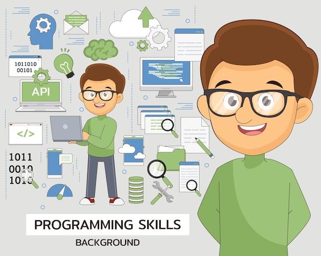 Contexte du concept de compétences en programmation. icônes plates.