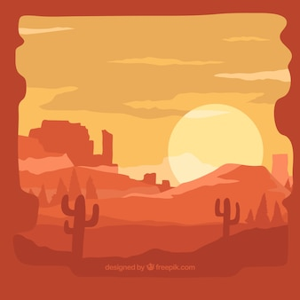 Contexte du désert au coucher du soleil