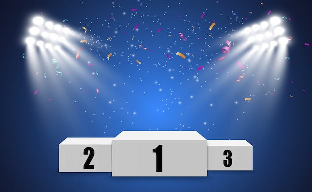 Contexte du gagnant avec des signes de première deuxième et troisième place sur un piédestal rond