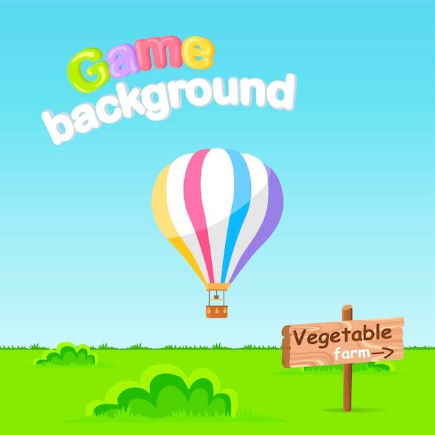 Contexte du jeu. vecteur de panneau de signe ferme de légumes
