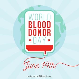 Contexte du jour du donneur de sang mondial avec globe terrestre