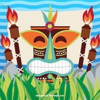 Contexte du masque tiki heureux avec des torches dans un design plat