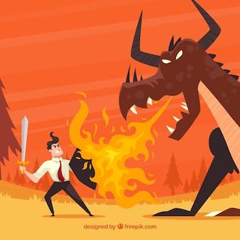 Contexte du personnage d'affaires se battre avec le dragon