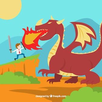 Contexte du personnage d'affaires se battre avec un dragon