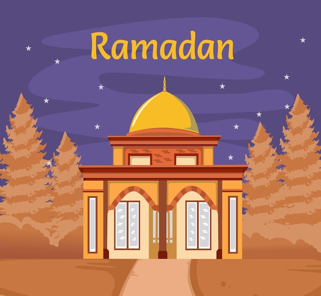 Contexte du ramadan mubarak. scène avec mosquée