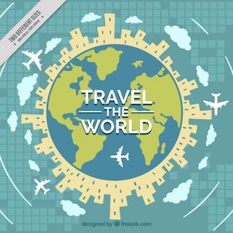 Contexte du tour du monde avec des bâtiments et des avions