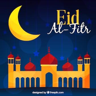 Contexte d'eid al fitr avec la mosquée et la lune