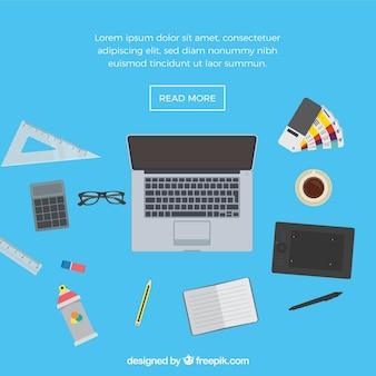Contexte de l'espace de travail avec des éléments de conception