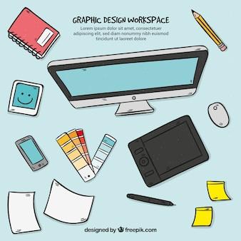 Contexte de l'espace de travail graphique design style dessiné à la main