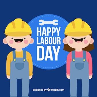 Contexte de la fête du travail avec des travailleurs heureux