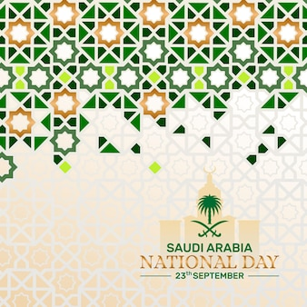Contexte de la fête nationale de l'arabie saoudite avec motif islamique et illustration historique