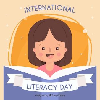 Contexte d'une fille qui lit un livre sur la journée internationale de l'alphabétisation