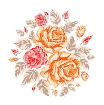 Contexte avec des fleurs oranges et rouges