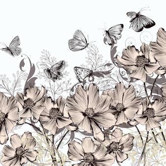 Contexte avec des fleurs et des papillons