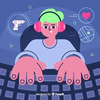 Contexte futuriste d'un joueur de l'ordinateur