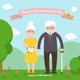 Contexte de grand-parents heureusement amoureux