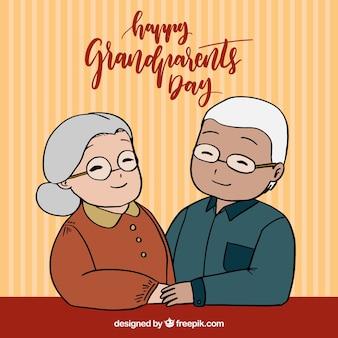 Contexte des grands-parents avec un couple heureux