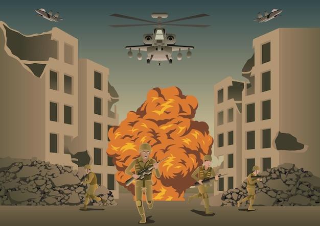 Contexte de guerre en situation de bataille entre ville détruite, illustration vectorielle