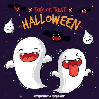 Contexte de halloween avec un design fantôme