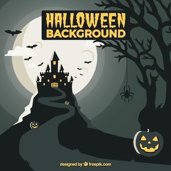 Contexte de halloween avec un manoir effrayant