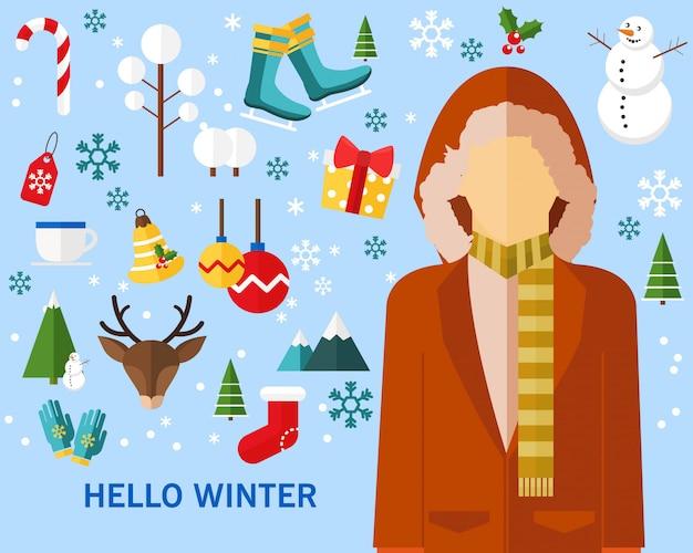 Contexte de l'hiver heureux icônes plates