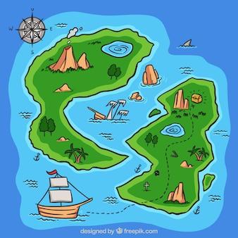 Contexte de l'île du trésor dessiné à la main
