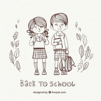 Contexte d'illustration des garçons allant à l'école