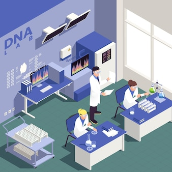 Contexte isométrique du génie génétique avec illustration des symboles de la science et de la recherche