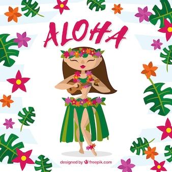 Contexte de jeune fille hawaïenne mignonne avec des fleurs et des feuilles