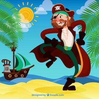 Contexte d'un joli personnage pirate sur l'île