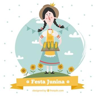 Contexte d'un joli personnage traditionnel de festa junina