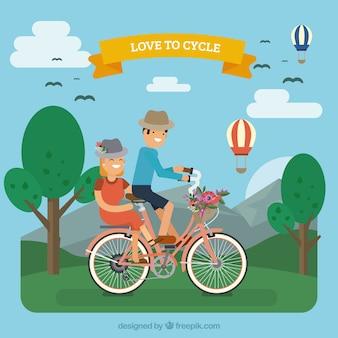 Contexte de jolie couple à vélo
