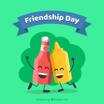 Contexte de jour de l'amitié avec des sauces