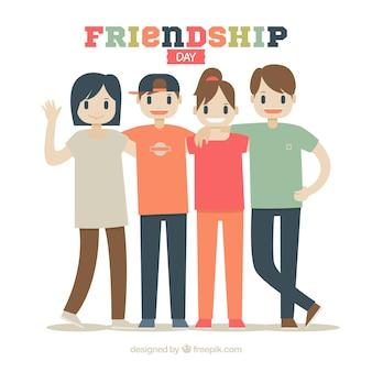 Contexte de la journée de l'amitié avec des gens heureux